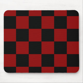 Checkered Large - Black and Dark Red Mousepad