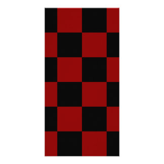 Checkered Large - Black and Dark Red Personalised Photo Card