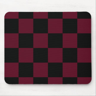 Checkered Large - Black and Dark Scarlet Mouse Pad