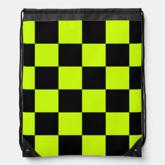 Checkered Large - Black and Fluorescent Yellow Drawstring Bag