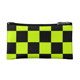 Checkered Large - Black and Fluorescent Yellow Cosmetics Bags