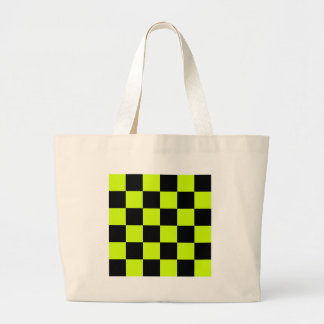Checkered Large - Black and Fluorescent Yellow Jumbo Tote Bag