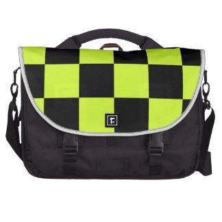 Checkered Large - Black and Fluorescent Yellow Laptop Bag