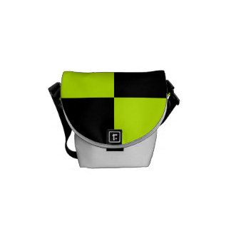 Checkered Large - Black and Fluorescent Yellow Messenger Bag