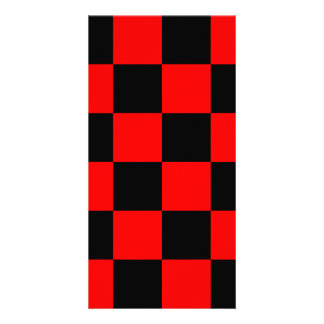 Checkered Large - Black and Red Custom Photo Card