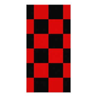 Checkered Large - Black and Rosso Corsa Photo Card Template