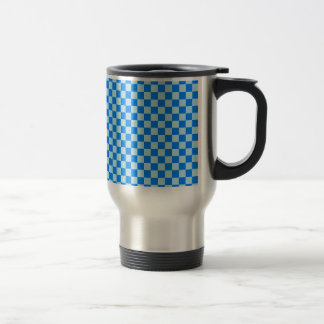 Checkered Large - Blue 1 - Blizzard Blue and Azure Stainless Steel Travel Mug