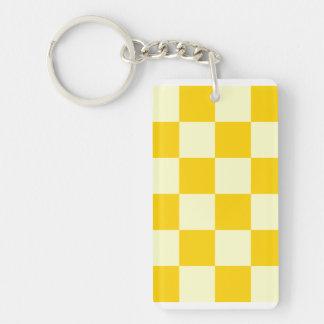 Checkered Large - Light Yellow and Dark Yellow Double-Sided Rectangular Acrylic Key Ring