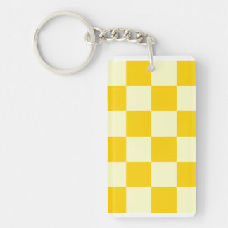 Checkered Large - Light Yellow and Dark Yellow Double-Sided Rectangular Acrylic Key Ring