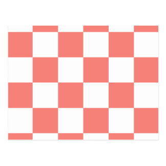 Checkered Large - White and Coral Pink Postcard