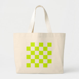 Checkered Large - White and Fluorescent Yellow Canvas Bags