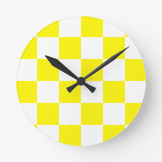 Checkered Large - White and Lemon Round Clock