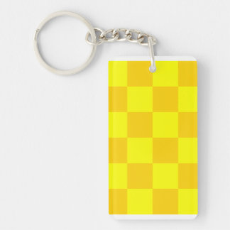 Checkered Large - Yellow and Dark Yellow Double-Sided Rectangular Acrylic Key Ring