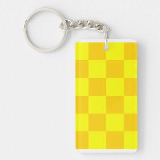 Checkered Large - Yellow and Dark Yellow Double-Sided Rectangular Acrylic Keychain