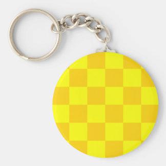 Checkered Large - Yellow and Dark Yellow Basic Round Button Keychain