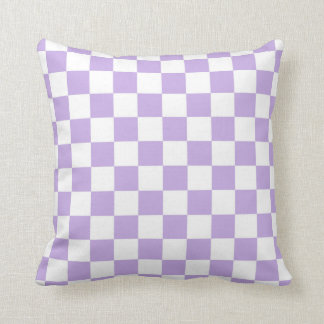Checkered Lavender and White Throw Pillow