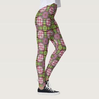 Checkered Leggings Plaid Pink Green