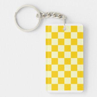 Checkered - Light Yellow and Dark Yellow Rectangle Acrylic Key Chains