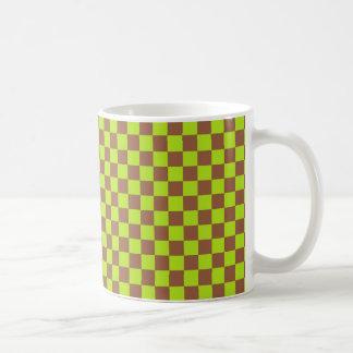 Checkered Lime Green and Brown Coffee Mug