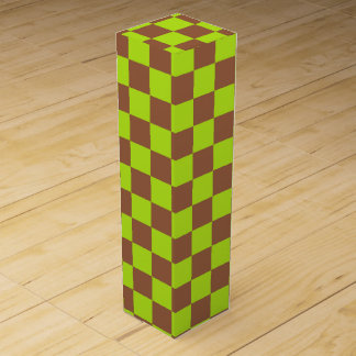 Checkered Lime Green and Brown Wine Gift Box