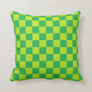 Checkered Lime Green and Green Throw Pillow