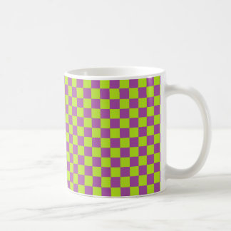 Checkered Lime Green and Purple Coffee Mug