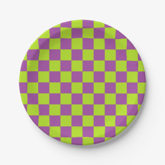 Checkered Lime Green and Purple Paper Plate