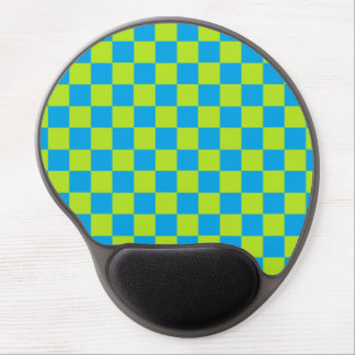 Checkered Lime Green and Turquoise Gel Mouse Pad
