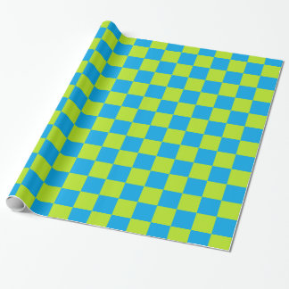 Checkered Lime Green and Turquoise Wrapping Paper