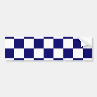 Checkered Navy and White Bumper Sticker