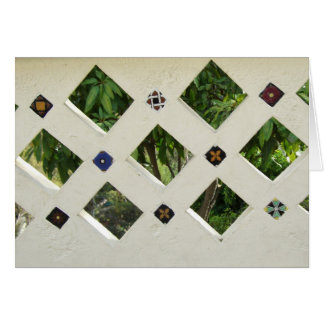 Checkered Open Cement Wall Tiled Greeting Card