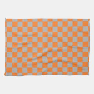 Checkered Orange and Silver Tea Towel