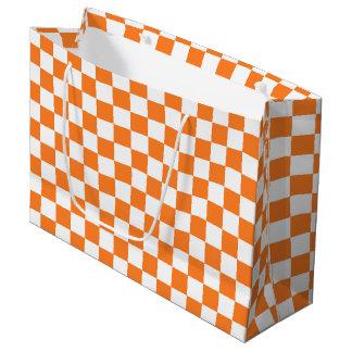 Checkered Orange and White Large Gift Bag