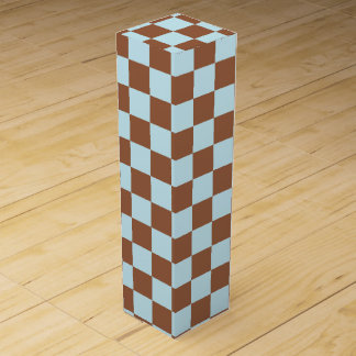 Checkered Pastel Blue and Brown Wine Gift Box