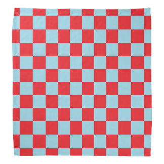 Checkered Pastel Blue and Red Bandana