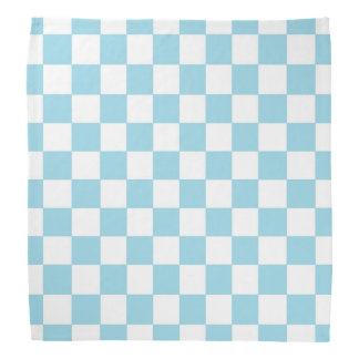 Checkered Pastel Blue and White Head Kerchiefs