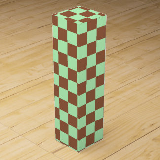 Checkered Pastel Green and Brown Wine Box