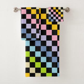 Checkered Pastel Rainbow Black Bath Towel Set