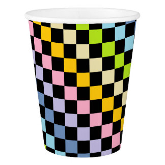Checkered Pastel Rainbow Black Paper Cup