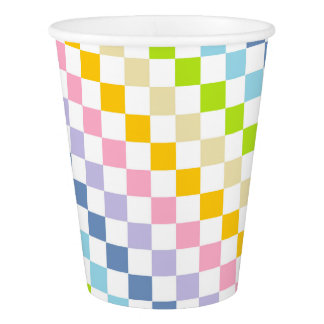 Checkered Pastel Rainbow Paper Cup
