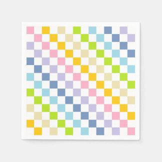 Checkered Pastel Rainbow Paper Napkins
