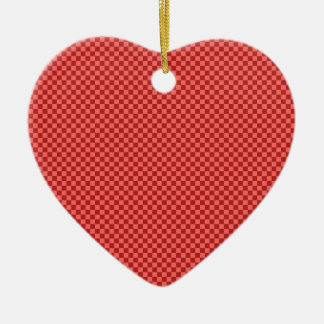 Checkered - Pastel Red and Firebrick Ceramic Heart Decoration