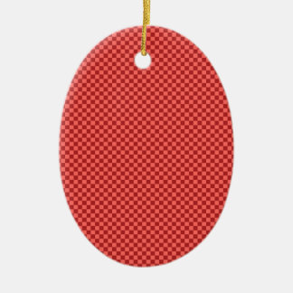 Checkered - Pastel Red and Firebrick Ceramic Oval Decoration