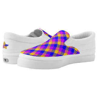 Checkered Pattern of Mustard Yellow, Blue, Cerise Slip-On Shoes