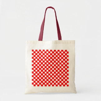 checkered pattern (red) budget tote bag