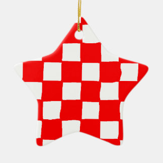 checkered pattern (red) ceramic star decoration