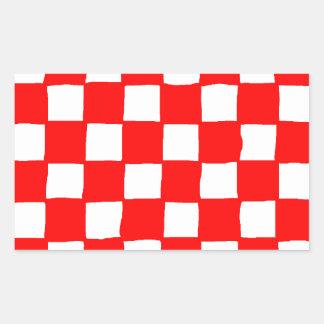 checkered pattern (red) rectangular sticker