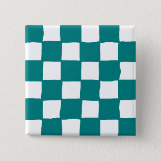 checkered pattern (teal) 15 cm square badge