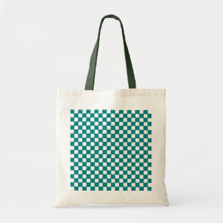 checkered pattern (teal) budget tote bag