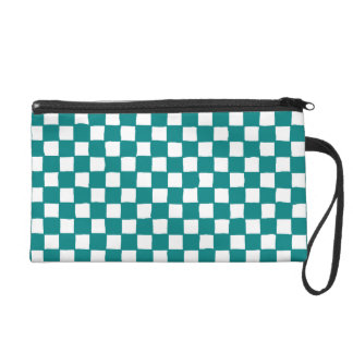checkered pattern (teal) wristlet clutches